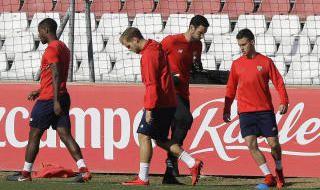 Entrenamiento del Sevilla tras regresar de Maribor