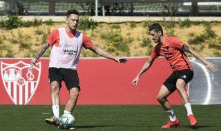 Entrenamiento del Sevilla FC en grupos (19-5-20)
