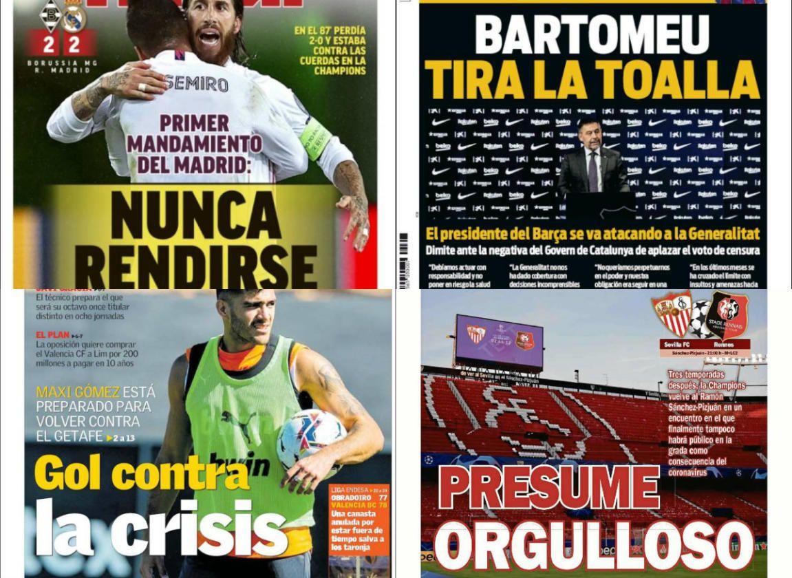 Las portadas del miércoles 28 de octubre