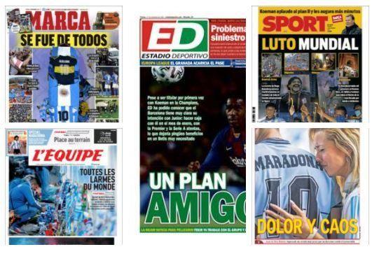 Las portadas de la prensa deportiva viernes 27 noviembre 2020