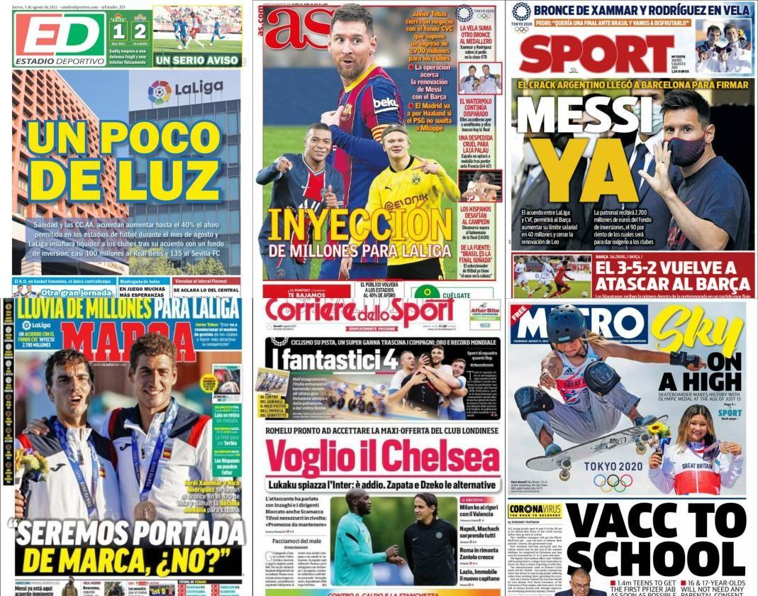 Las portadas del jueves 5 de agosto