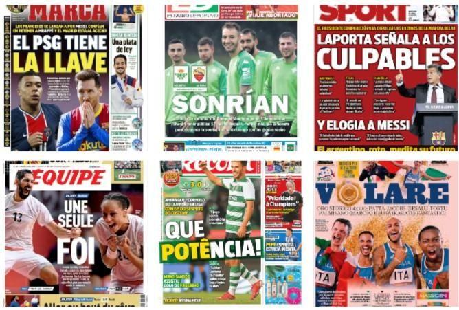 Las portadas de los diarios deportivos 7 de agosto
