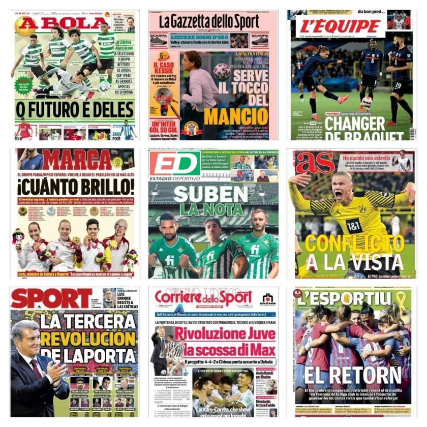 Las portadas de la prensa deportiva del 4 de septiembre